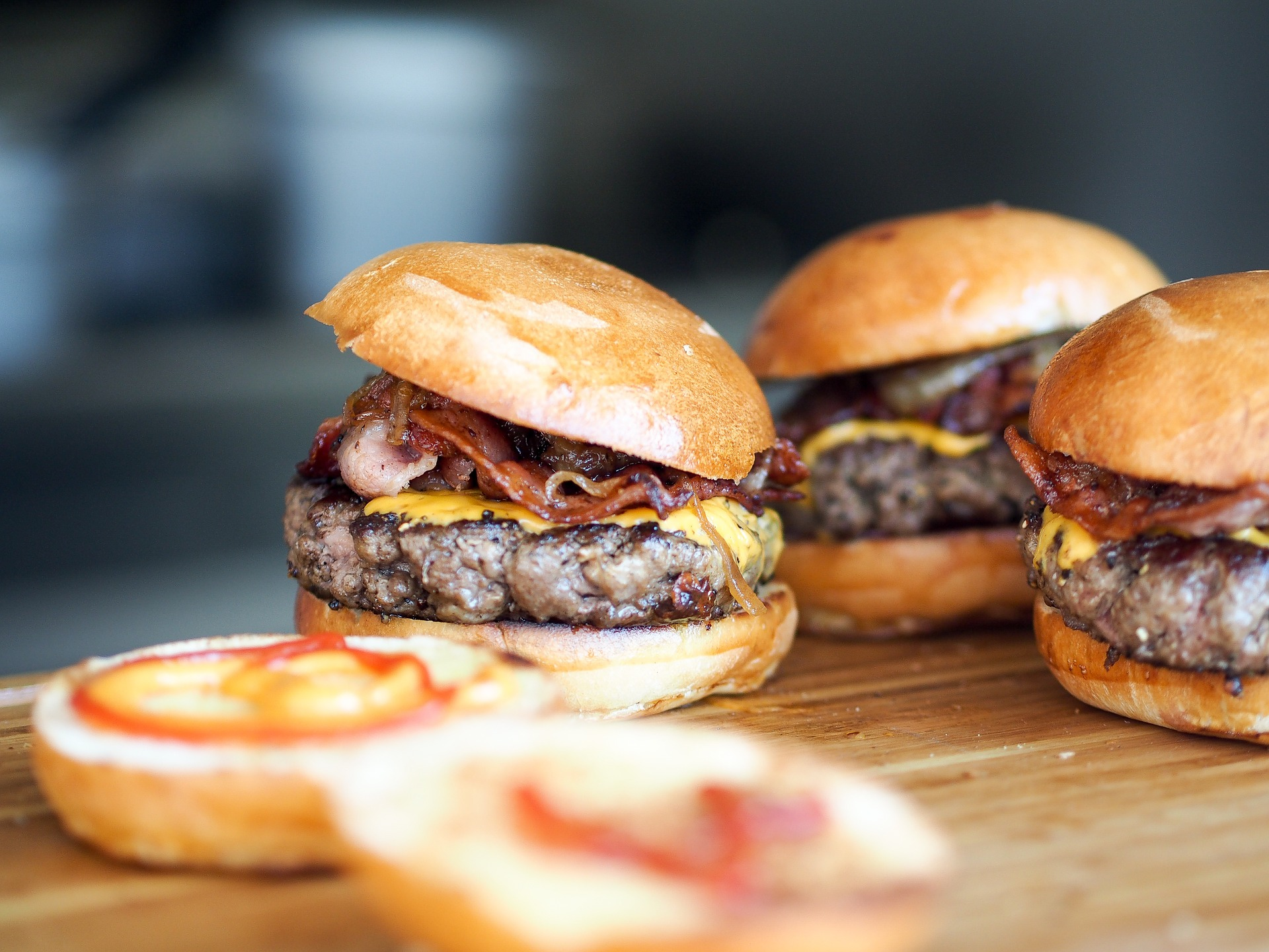 Enjoy a savory burger while dining on the outdoor patio of Picnickins.